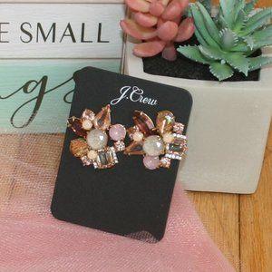 PINK CRYSTAL FLORAL SHAPED PIERCED EARRINGS